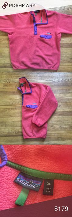 Vintage Patagonia Snap-T Synchilla Fleece Pullover Vintage Patagonia Spring 2000 Snap-T Synchilla Fleece Pullover Jacket.  Size XL.  Pre-owned in excellent condition.  Colors are Peach with purple and green accents. Get it cheaper on G®ailed & Ⓜ️erc.  See something you like but it's not here next week? We sell in store and across multiple platforms, so items go quick! If you're interested, act on it before you lose it! Patagonia Jackets & Coats