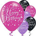 "Happy Birthday Pink Sparkling Celebration Balloons - 11"" Latex"