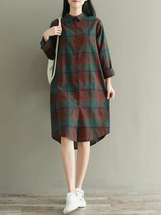 Vintage Plaid Long Sleeve Irregular Hem Dresses For Women Online Iranian Women Fashion, Korean Girl Fashion, Casual Frocks, Sleeve Dresses, Dresses With Sleeves, Kurti Designs Party Wear, Dress Indian Style, Vintage Style Dresses, Girly Outfits