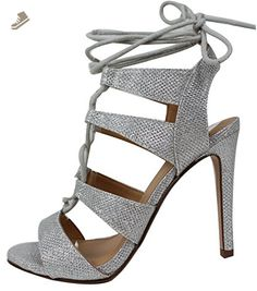 Delicious Women's Heather Gladiator Lace Up Open Toe Strappy Ankle Wrap High Heel Pump, Silver, 65 M US - Delicious pumps for women (*Amazon Partner-Link)