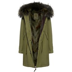 Mr & Mrs Italy - Army Patch Murmasky and Coyote  Fur Lined Knee Length... ($6,180) ❤ liked on Polyvore featuring outerwear, jackets, tops, vestes, army parka, knee length parka, fur hood parka, army green parka and green parkas