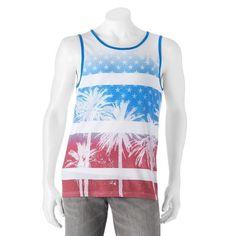 Men's Flag Tank L URBAN PIPELINE Sublimated Tropical Stars & Stripes Top NWT #UrbanPipeline #TankTop