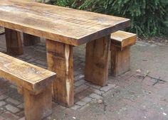 Railway sleeper table and benches Outdoor Wood Table, Timber Table, Rustic Outdoor, Patio Table, Picnic Table, Table Bench, Garden Table, Timber Furniture, Garden Furniture