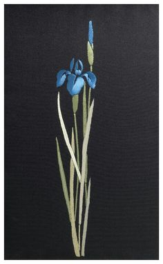 Blue iris - traditional Japanese embroidery techniques