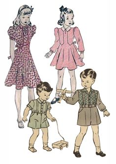 1940s Details like cuffs and pleats on trousers disappeared during the war due to rationing. Boys' shirts were often cut to give the appearance of broad shoulders. After the war jeans and t-shirts became everyday dress for boys. Western and cowboy inspired clothing was popular in the 50s.
