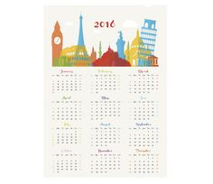 Large BIG 2016 annual wall calendar poster Europe, Paris France, Italy, London UK, Pisa, Athens, Instant Download printable 50 x 70 cm by HemBee on Etsy