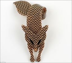 Lea Stein Figural Zigzag Pattern Fox Animal Tail Brooch Pin French Plastic Paris | eBay