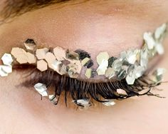 """INSPIRATION: """"FESTIVE"""" Eyes & lashes decorated with gold cutouts CHANEL #MUA: Peter Philips"""