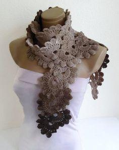 Gehäkelt Kaffee Creme Beige Lace-Schal Mode Herbst von likeknitting