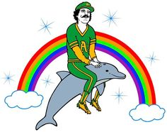 63cbaa841ee09 Dallas Bradens tattoo of Rollie riding a dolphin. Watch Dallas Braden pay  homage to As legend Rollie Fingers in a not too subtle way in honor of  Rollies ...
