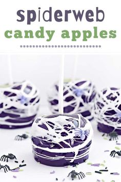 Spiderweb Candy Apples are the best dessert for Halloween get togethers and parties. So tasty and easy to make too! Halloween Party Treats, Halloween Desserts, Halloween Cakes, Fall Desserts, Apple Dessert Recipes, Apple Crisp Recipes, Homemade Desserts, Cinnamon Toast Crunch, Caramel Candy