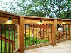 Ideas Diy Wood Patio Deck Railings For 2019 Deck Railing Design, Deck Railings, Railing Ideas, Deck Stairs, Outdoor Deck Lighting, Outdoor Decor, Landscape Lighting, Balcony Lighting, Fence Lighting
