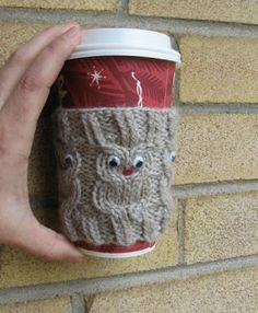 - if you're looking a knitting project for yourself or me. Owl coffee cup cozie, perfect handmade crochet/knitting gift for a coffee or tea enthusiast!or owls! Owl Knitting Pattern, Knitting Patterns Free, Free Knitting, Crochet Patterns, Free Pattern, Cable Knitting, Owl Patterns, Yarn Projects, Knitting Projects