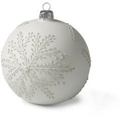Lands' End Large Snowflake Globe Ornament (75 SEK) ❤ liked on Polyvore featuring home, home decor, holiday decorations, christmas, white, xmas, filler, white christmas ball ornaments, glass home decor and christmas home decor