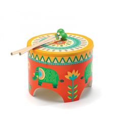 Dance to the beat of the drum with this uniquely bright drum by Djeco! It features a wooden frame and two drum sticks. #entropytoys #drum #music #musicaltoy #musicalinstrument