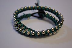 Double Wrapped Teal and Silver Bracelet