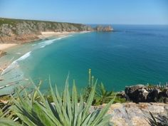 view from the Minnack theatre of Porthcurno Bay