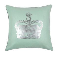 Crown-print throw pillow that reverses to solid mint. Down insert included.     Product: Pillow Construction Material: