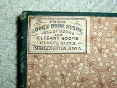 1883,Burlington IA;bookstore label.