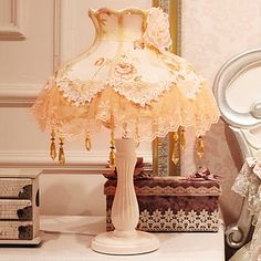 Rustic Garden cordón de la tela Lámparas de mesa de noche de la boda luz de estilo europeo - EUR € 115.49