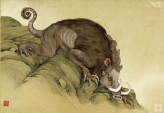 Lili- Chinese myth: a hog like creature with bird like talons. It lived in the mountains and it barked like a dog. Seeing it was an omen of a bad earthquake.