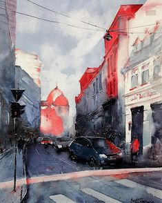 Bucharest Old Town watercolor painting cm Watercolours, Watercolor Paintings, Bucharest, Online Art Gallery, Old Town, Buildings, Artist, Pen And Wash, Old City