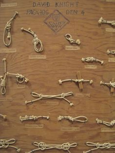 Knots... a neat idea for the boys to display their knots, or to have set up so the boys can see what they should look like :)
