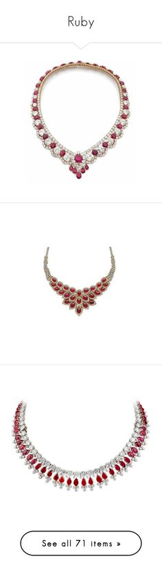 """""""Ruby"""" by karinabrandao ❤ liked on Polyvore featuring jewelry, necklaces, fine jewelry, fine jewellery, ruby jewelry, diamond jewellery, wine necklace, wine jewelry, diamond jewelry and accessories"""