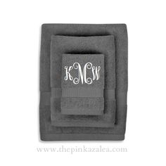 Monogrammed Bath Towel Set - really want these for master bath Monogram Towels, Monogram Gifts, Bath Towel Sets, Bath Towels, Monograms, Master Bath, Sweet Home, Gift Ideas, Embroidery