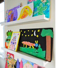 15 Ways To Display Kids Artwork In Your Home – Organised Pretty Home - Famous Last Words Artwork Display, Framed Artwork, Display Photos, Hang Kids Artwork, Hanging Artwork, Display Wall, Displaying Childrens Artwork, Childrens Art Display, Display Kids Art