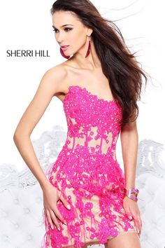 2014 Sherri Hill 21143 Fuchsia Cocktail Dresses