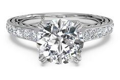 Solitaire French-Set Braided Diamond Band Engagement Ring - in 18kt White Gold (0.25 CTW)