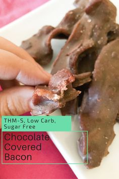 Perfectly cooked bacon, wrapped in delicious chocolate, topped with savory Pink Himalayan salt. Its a party in your mouth!  Chocolate Covered Bacon {THM-S, Low Carb, Sugar Free}