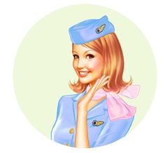 Flight Attendant with pink scarf illustration