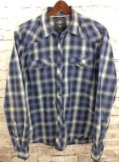 LOGG H&M Western Cowboy Blue Pearl Snap Plaid Shirt Sz Large Fitted 100% Cotton #HM #Western