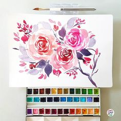 Another florals using the dagger brush #dreweuropeo #calligrafikas #grafikas #watercolor #expressivepainting #loosepainting #grafikaflora Paper: Monologue 200gsm Brush: Rosemary & Co. Travel dagger no ¼ Paint: Holbein