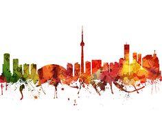 Colorful Digital abstract drawing of Toronto Ontario skyline. Toronto Skyline, Skyline Art, Canvas Prints, Framed Prints, Abstract Drawings, Wood Print, Ontario, Greeting Cards, Hand Painted