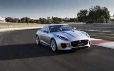 Download wallpapers Jaguar F-Type, 2017, silver roadster, sports coupe, racing track, Jaguar