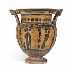 AN ATTIC RED-FIGURED COLUMN-KRATER - ATTRIBUTED TO THE PAINTER OF THE LOUVRE CENTAUROMACHY, CIRCA 450-440 B.C.