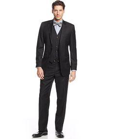 Lauren Ralph Lauren Black Vested Solid Slim-Fit Suit