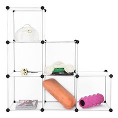 Create your Custom Made Closet this 6-multiposition cubes organizing closet is perfect for a modern home. You could either build the cubes together to form an entire closet, or separate them into a couple of matching shelving units. This is a perfect idea for rooms with a smaller surface,... more details available at https://furniture.bestselleroutlets.com/home-office-furniture/bookcases/product-review-for-langria-modular-shelving-diy-closet-organization-system-plastic-wire-s