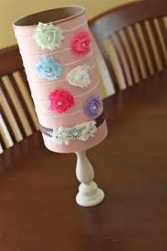 headband holder - Oatmeal can, candle stick, scrapbook paper! Awesome!