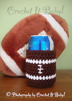 Ravelry: 3 Sports Can/Bottle Coozie pattern by Crochet It Baby -- Posting here because it matches some hats I've already pinned. :)
