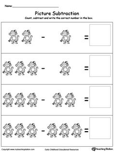 Picture Subtraction: Introduce subtraction basics with pictures, making it fun and easy for preschoolers to understand.