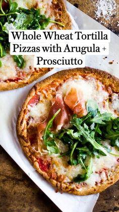 Best Appetizers, Appetizer Recipes, Tortilla Pizza, Whole Wheat Tortillas, Sausage Balls, Food Now, Prosciutto, Arugula, Tomato Sauce