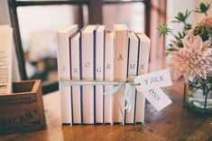book themed ceremony programs - J Wiley Photography via Green Wedding Shoes