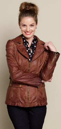 Brown jacket with pattern shirt & jeans