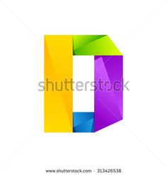 D letter one line colorful logo, vector design template elements an icon for your application or company.