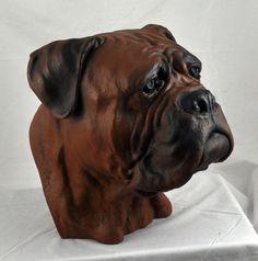 Bullmastiff color  dog big head statue limited by ArtDogshopcenter