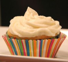 """DECADENT, Buttercream Frosting: The easiest, most decadent buttercream frosting you've ever whipped up. It's made with only four ingredients: Butter, milk, powdered sugar and vanilla. This will undoubtedly become your """"go-to"""" frosting recipe!  #frosting, #buttercream, #vanilla"""
